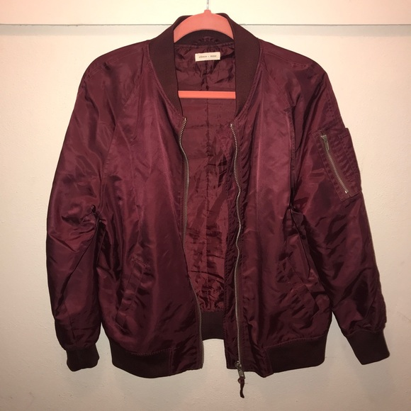 feab3156b Maroon bomber jacket -urban outfitters